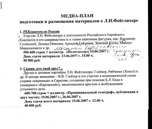 № 136. Фрагмент медиа-плана по Фейтлихеру
