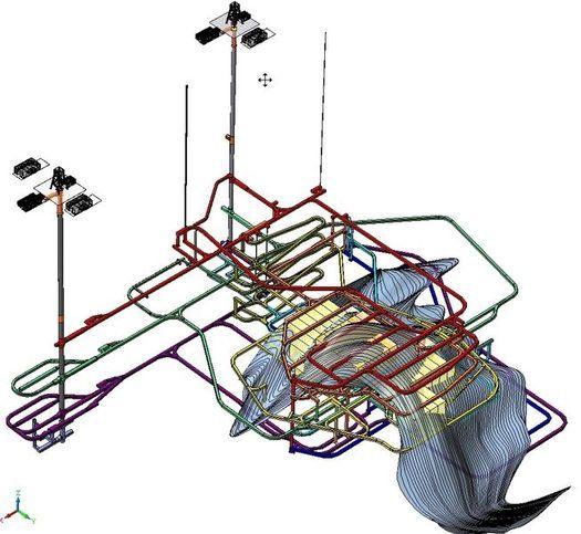 Весьма приблизительная схема подземного комплекса под горой Ямантау. Вид с северо-востока: на первом плане – контуры Большого Ямантау, за ним – Малый Ямантау.