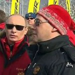 """Владимир Путин и Дмитрий Медведев в """"Абзаково""""."""