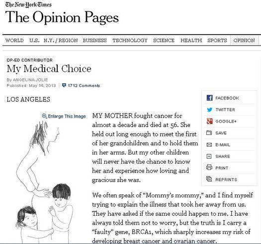 Скриншот веб-страницы газеты «The New York Times» от 14 мая 2013 года со статьёй Анджелины Джоли.