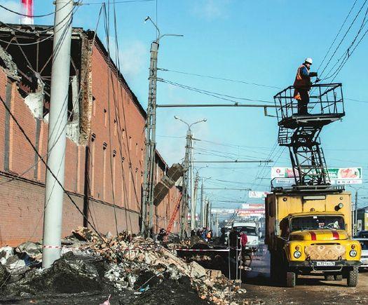 Разрушения в Челябинске от метеорита.