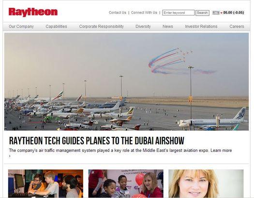 Главная страница официального веб-сайта компании «Raytheon».