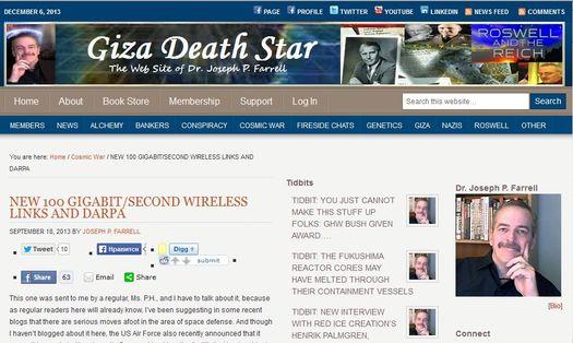 Страница персонального сайта Джозефа Патрика Фаррелла «GizaDeathStar.com».