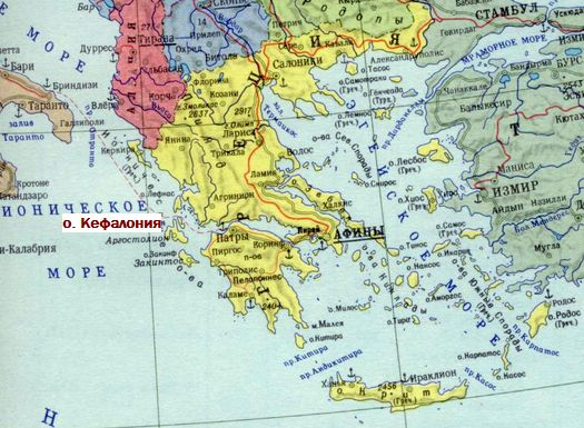 Карта Греции.