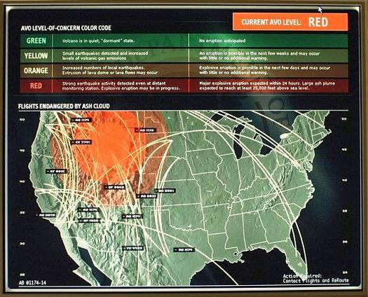 Схема корпорации ВВС, показывающая районы США, которые могут пострадать от извержения Йеллоустоунского супервулкана.