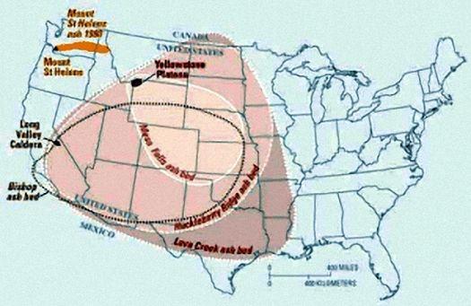 Схема распространения огненного пепла от извержения Йеллоустоунского супервулкана на территории США.