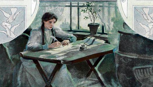 Татьяна пишет письмо Онегину. Иллюстрация Елена Самокиш-Судковской (1863-1924) для санкт-петербуржского издания «Евгения Онегина» 1908 года.