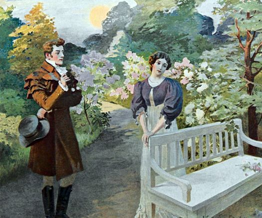 Онегин даёт отповедь Татьяне (иллюстрация Е. Самокиш-Судковской).