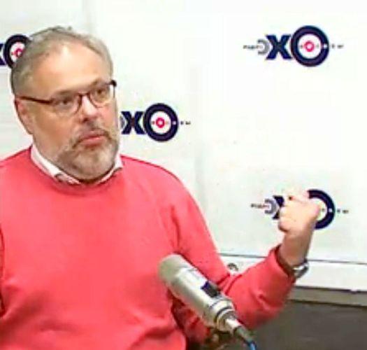 Михаил Хазин в студии радиостанции «Эхо Москвы» 6 марта 2014 года.