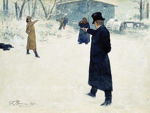 Дуэль Владимира Ленского и Евгения Онегина. Акварель Ильи Репина (1899 г.).