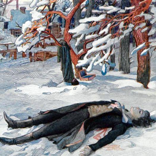 Убитый на дуэли Владимир Ленский (иллюстрация Е. Самокиш-Судковской).
