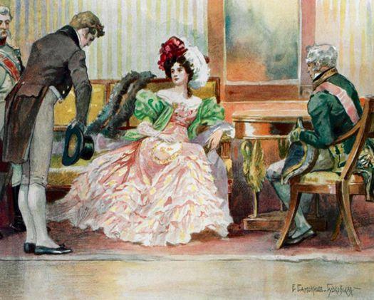 Встреча Онегина с замужней Татьяной (иллюстрация Е. Самокиш-Судковской).