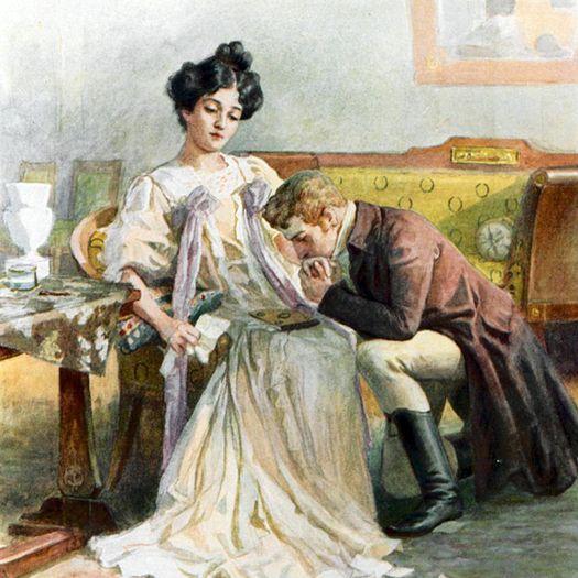 Онегин и Татьяна: последний разговор (иллюстрация Е. Самокиш-Судковской).