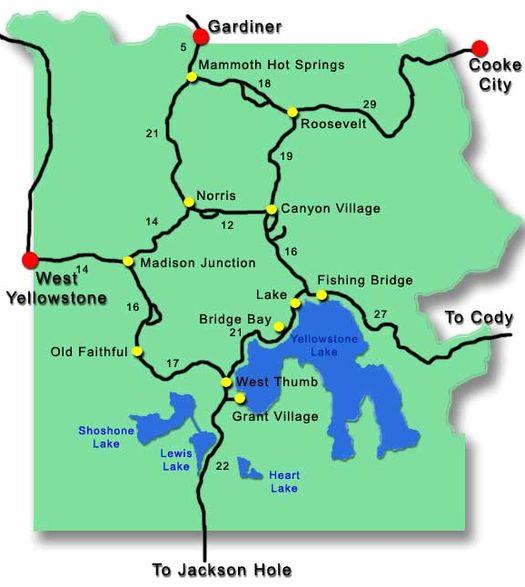Карта Йеллоустоунского национального парка.