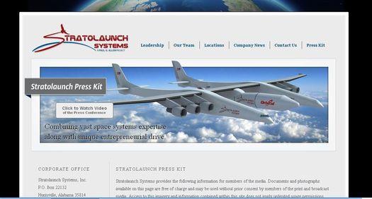 Главная страница официального веб-сайта компании «Stratolaunch Systems».