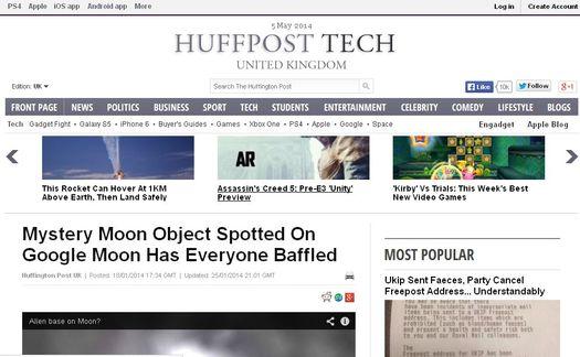 Скриншот сайта «Huffington Post» с обсуждением таинственного объекта, обнаруженного на Луне.
