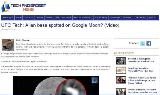 Скриншот сайта «Tech and Gadget News» с обсуждением очередной лунной аномалии.