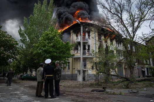 9 мая 2014 года: пожар в здании городского отдела милиции Мариуполя.