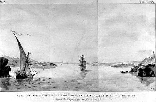На втором плане видны форты прибрежных укреплений на обоих берегах пролива Босфор, построенных по проектам и при наблюдении Франсуа де Тотта.