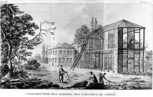 Рисунок Франсуа де Тоттаа: крымские тартары (татары) во время строительства дома.