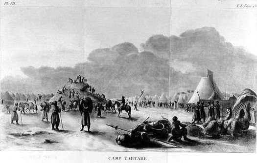 Рисунок Франсуа де Тотта: Тартарский (татарский) лагерь.