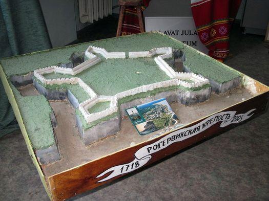 Макет крепости Рогервик, в которой содержались Салават Юлаев и ряд других соратников Емельяна Пугачёва.