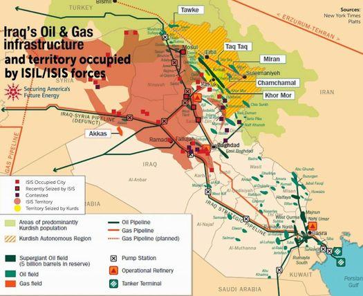 Газовые и нефтяные месторождения Ирака.