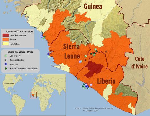 Территория распространения лихорадки Эбола.