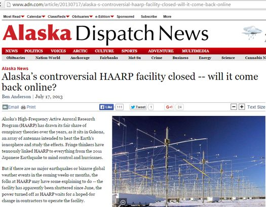 «Alaska Dispatch News» («Alaska's controversial HAARP facility closed -- will it come back online?»).
