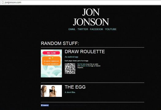 Скриншот главной страницы персонального сайта актёра и режиссёра Джона Джонсона.