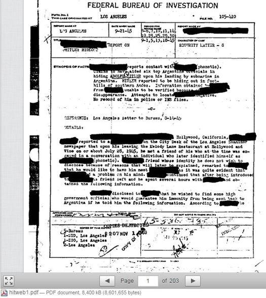 Рассекреченный архив ФБР про Гитлера в Аргентине.
