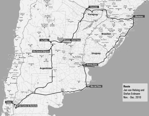 Карта Аргентины с указанием мест, где с лета 1945 года проживал Адольф Гитлер.