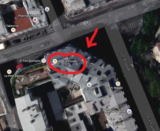 Кафе «La Belle Equipe» на карте.