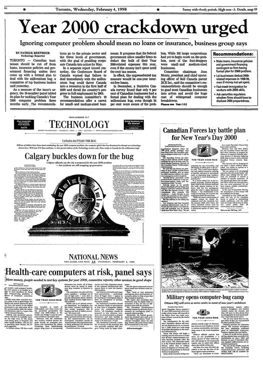 «The Globe and Mail» 1998-1999 years.