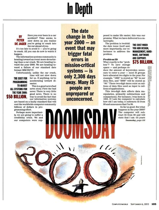 «Computer World» 1993 (vol. 27, № 36), Питер де Джагер (Peter de Jager), статья «Судный день-2000» («Doomsday 2000»).