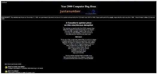 Веб-сайт Дэвида Лобло www.justanumber.com сегодня остаётся в том же виде, что и в конце 1990-х...